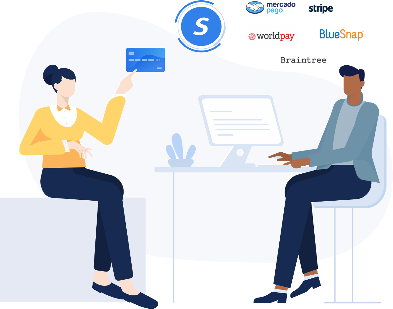 an image of two people sitting at a desk with various customer logos floating above their head
