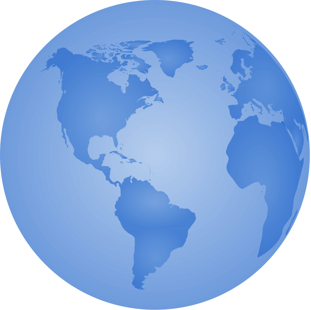 a blue icon that represents the earth