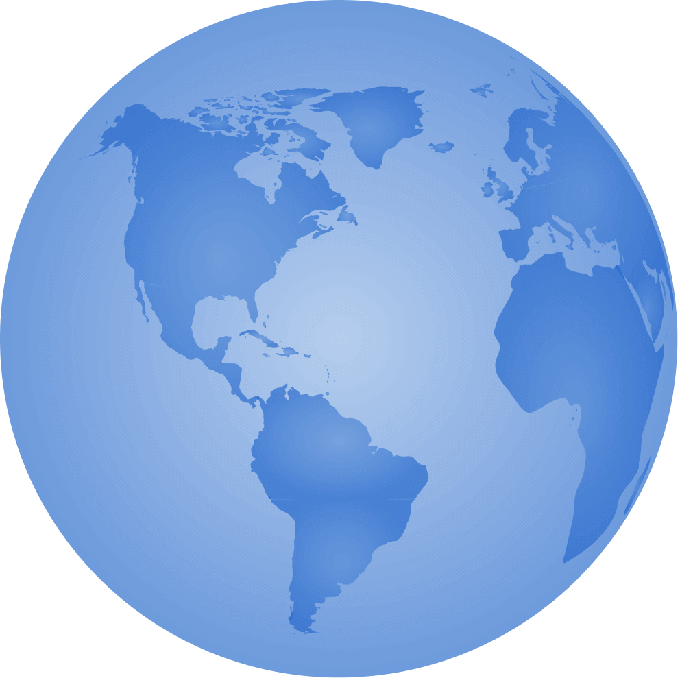 a blue globe, representing planet earth