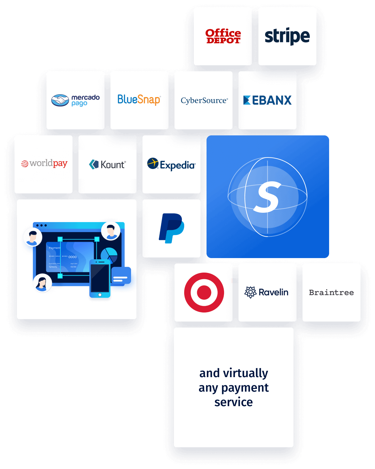 a grid of company logos with spreedly in the center