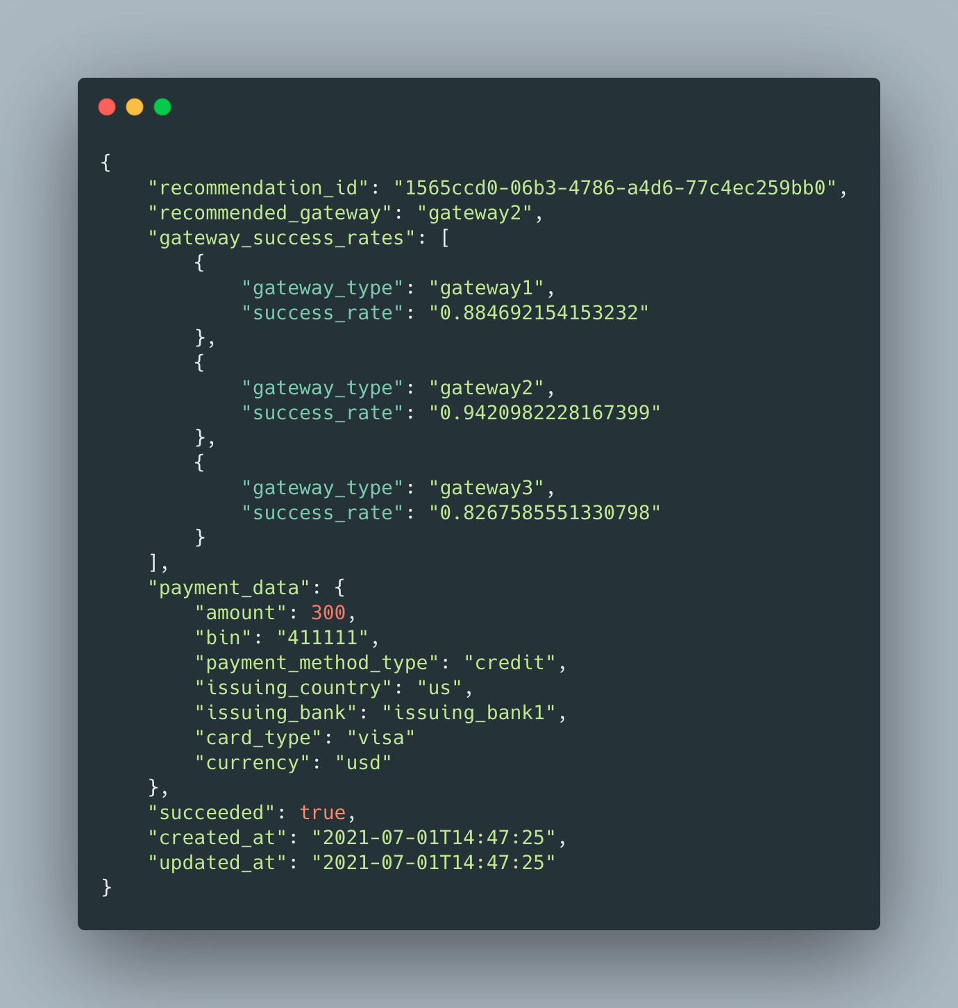a code snippet of smart routing by transaction type