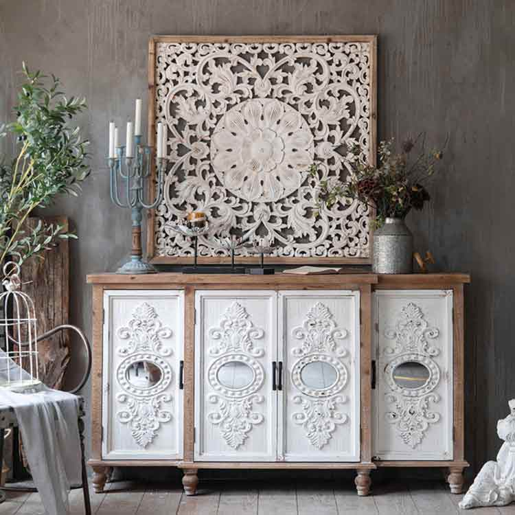 Mcogroup - French solid wood country side cabinets white / brown