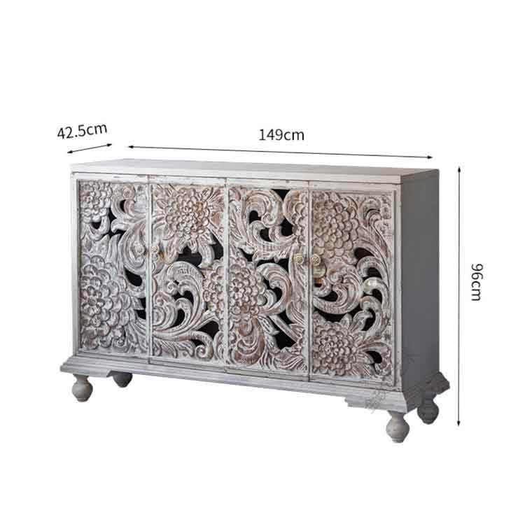 visually aged old carved porch cabinet, dining room side cabinet with floral carvings whitewashed france country style in white - solid wood
