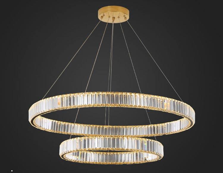 Postmodern minimalist living room / designer lamp dining room / very light luxury crystal chandelier