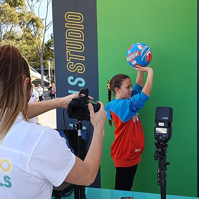 green screen at a social playground event activation
