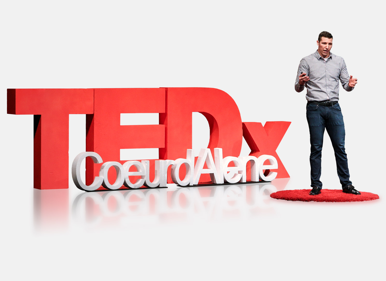 Image of our CEO, Tyler Alvarado talking at TEDx Coeur d'Alene.
