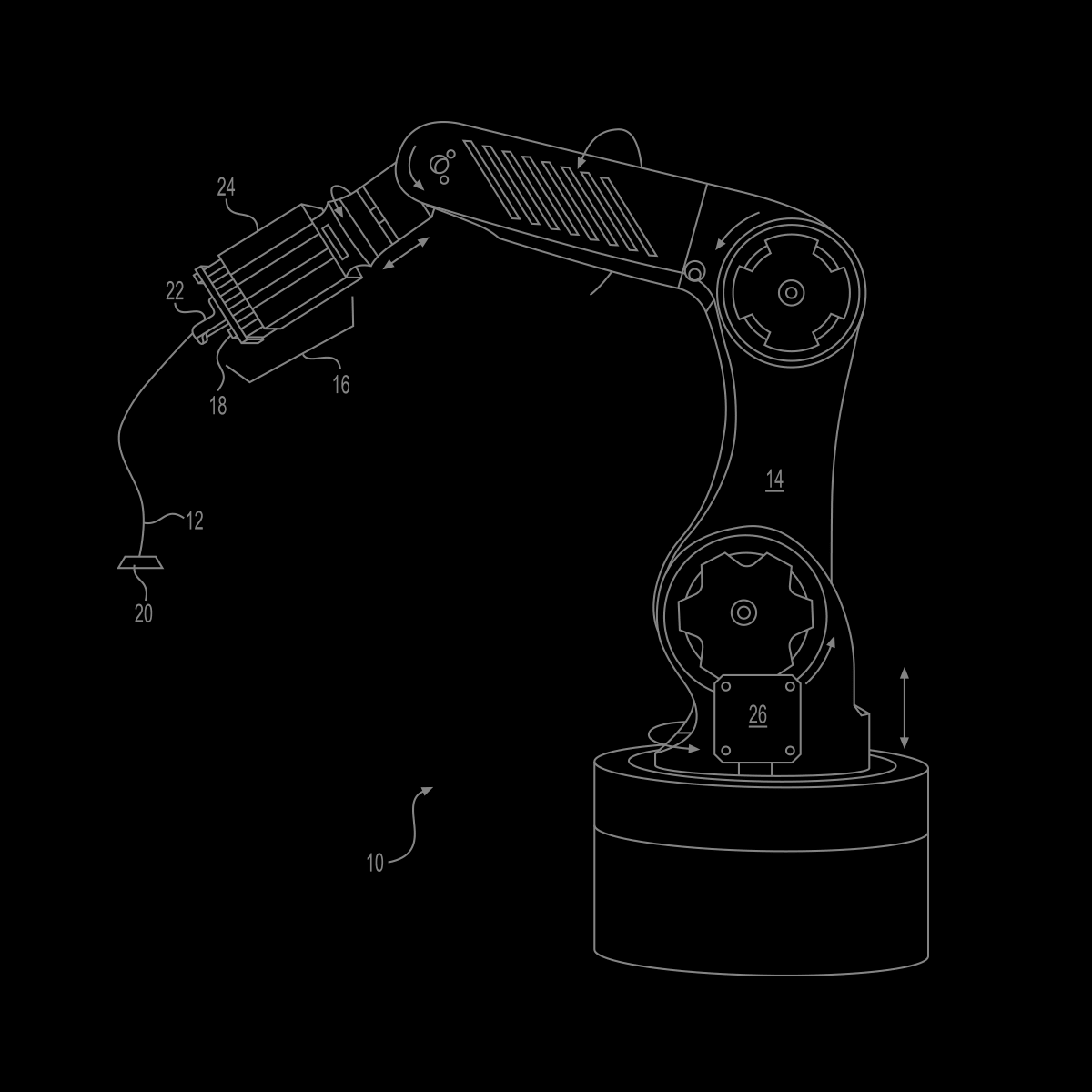 Patent illustration of robot arm printing strand of fiber.