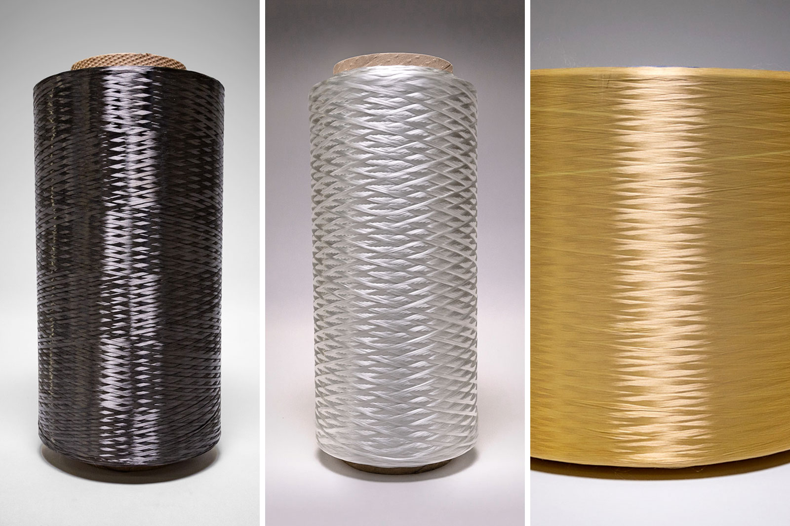 Image of three dry continuous fiber spools. Carbon fiber, fiberglass, and kevlar.