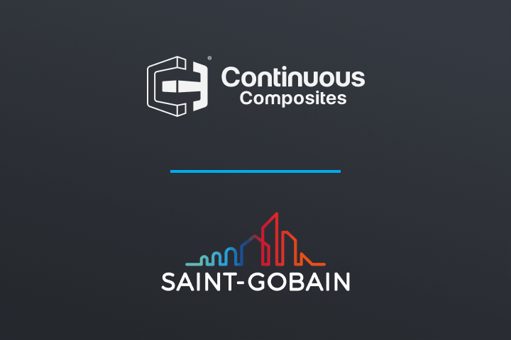 Continuous Composites and Saint Gobain logos on dark blue background