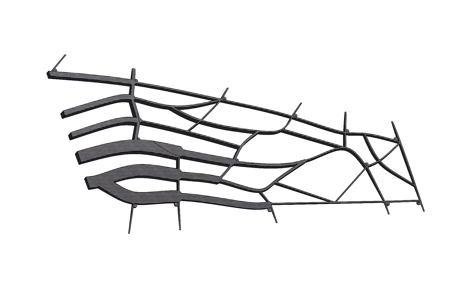 Single component, organically integrated wing spar and rib configuration