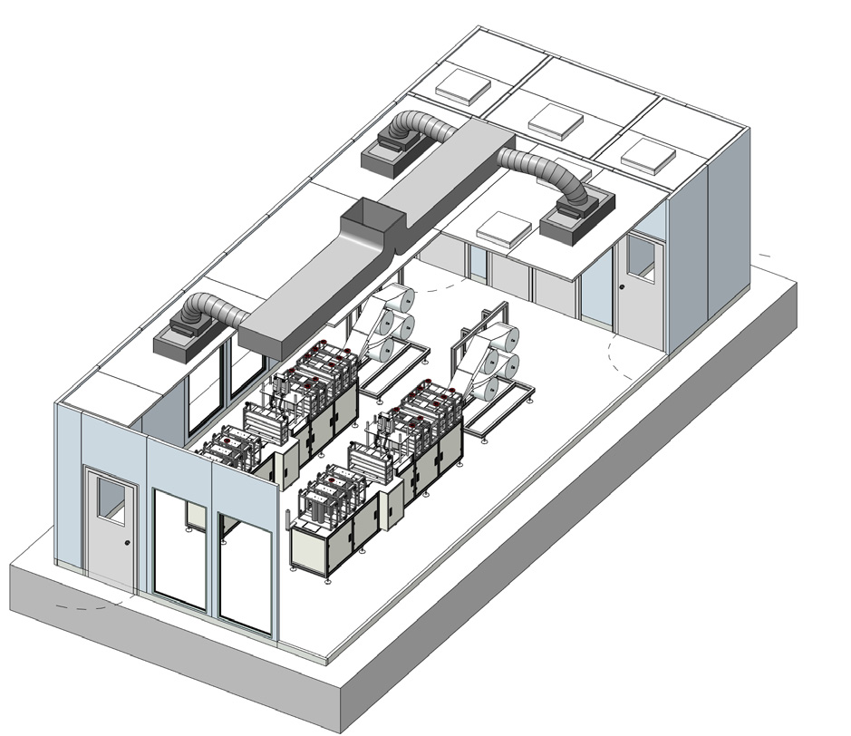ISO 8 with HVAC unit or FFU system. Built on Nicomac walk on ceiling