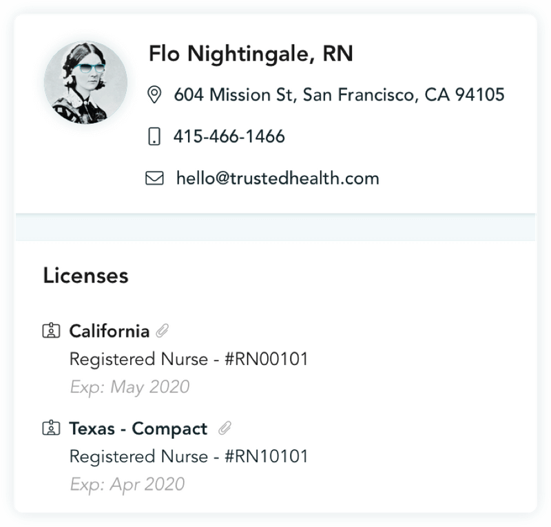 trusted health platform showing nurse licensure