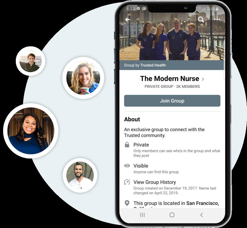 Phone showing facebook Modern Nurse page.