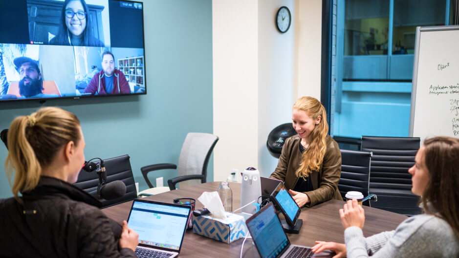 employees at a video conference