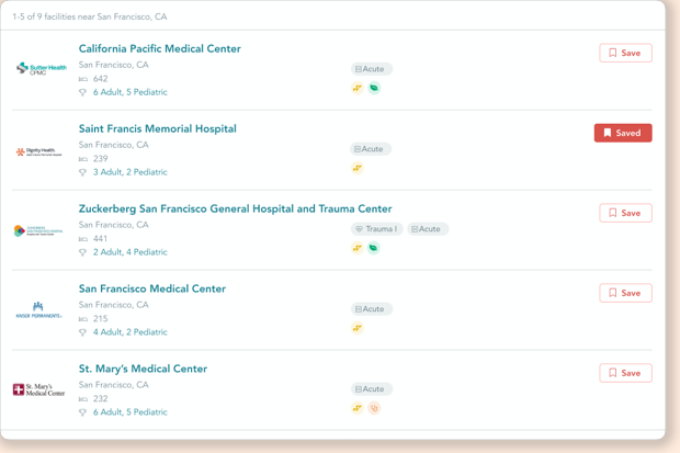 Trusted Health Explorer Favorite Facilities Screen
