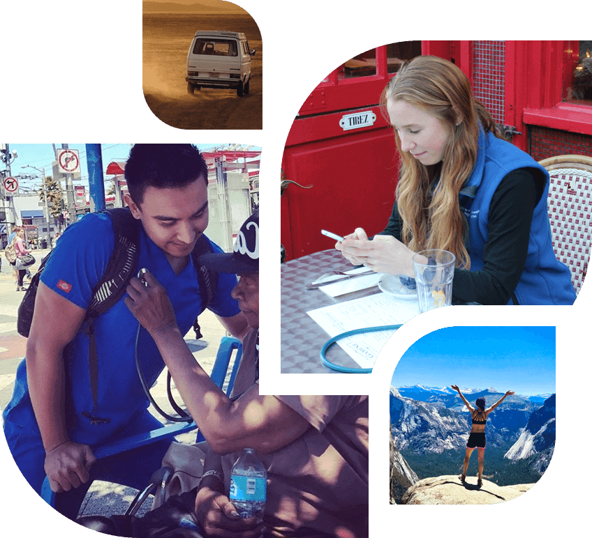 Collage of a nurse at a table, a nurse helping a patient, a bus driving, and a travel nurse mountain climbing