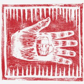 Linoryt ruky s pivem uvnitř