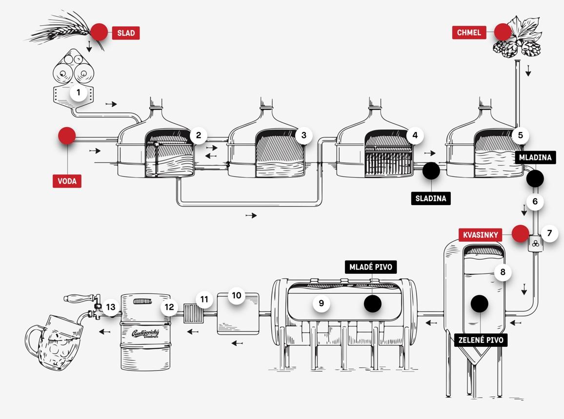 Obrázek popisuje výrobu piva