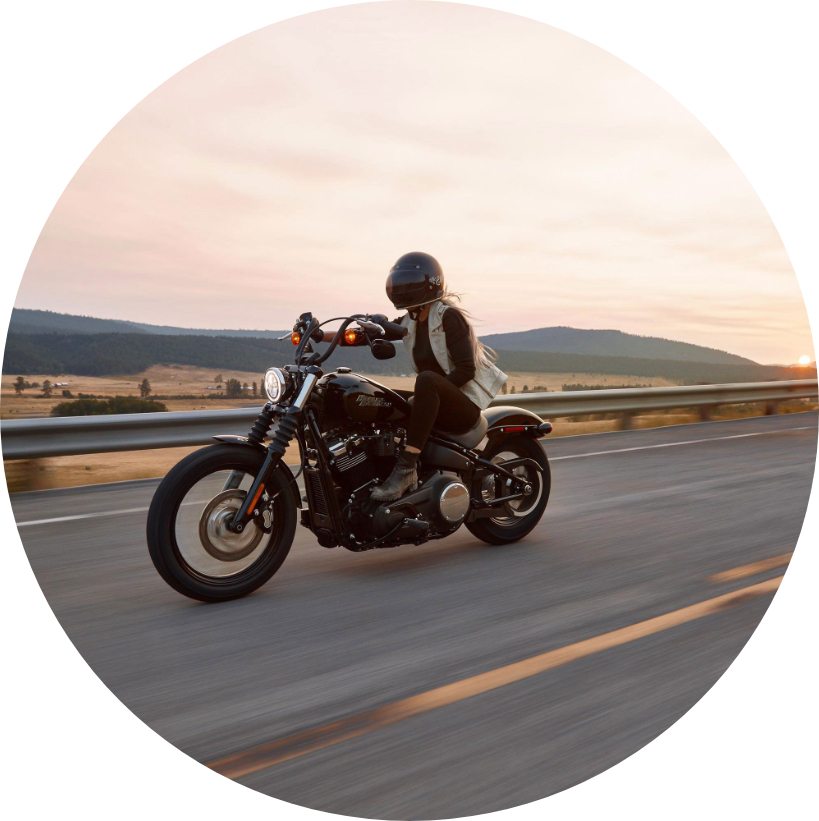 Riding a motorbike