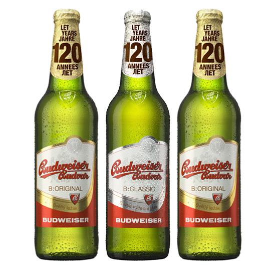 Etikety smotivem 120 let na lahvích Budweiser Budvar