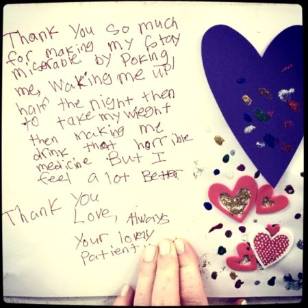 thank you card from patient to peds nurse
