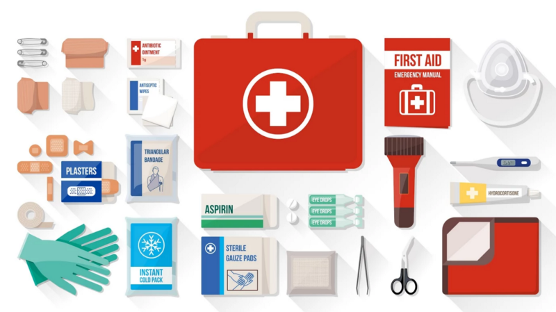 visual of first aid kit, nurse skills