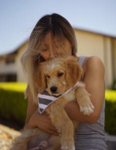 nurse jasmine chen holding dog on lap