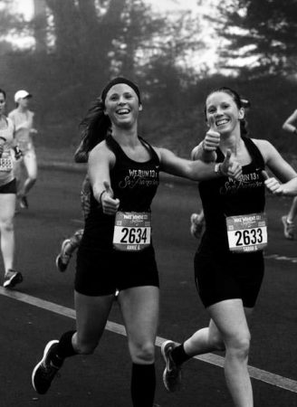 sister nurses sarah and annie gray running a marathon together