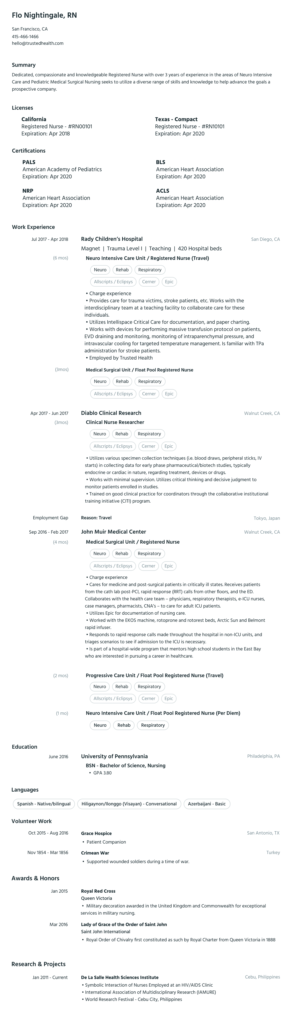 travel nurse resume example