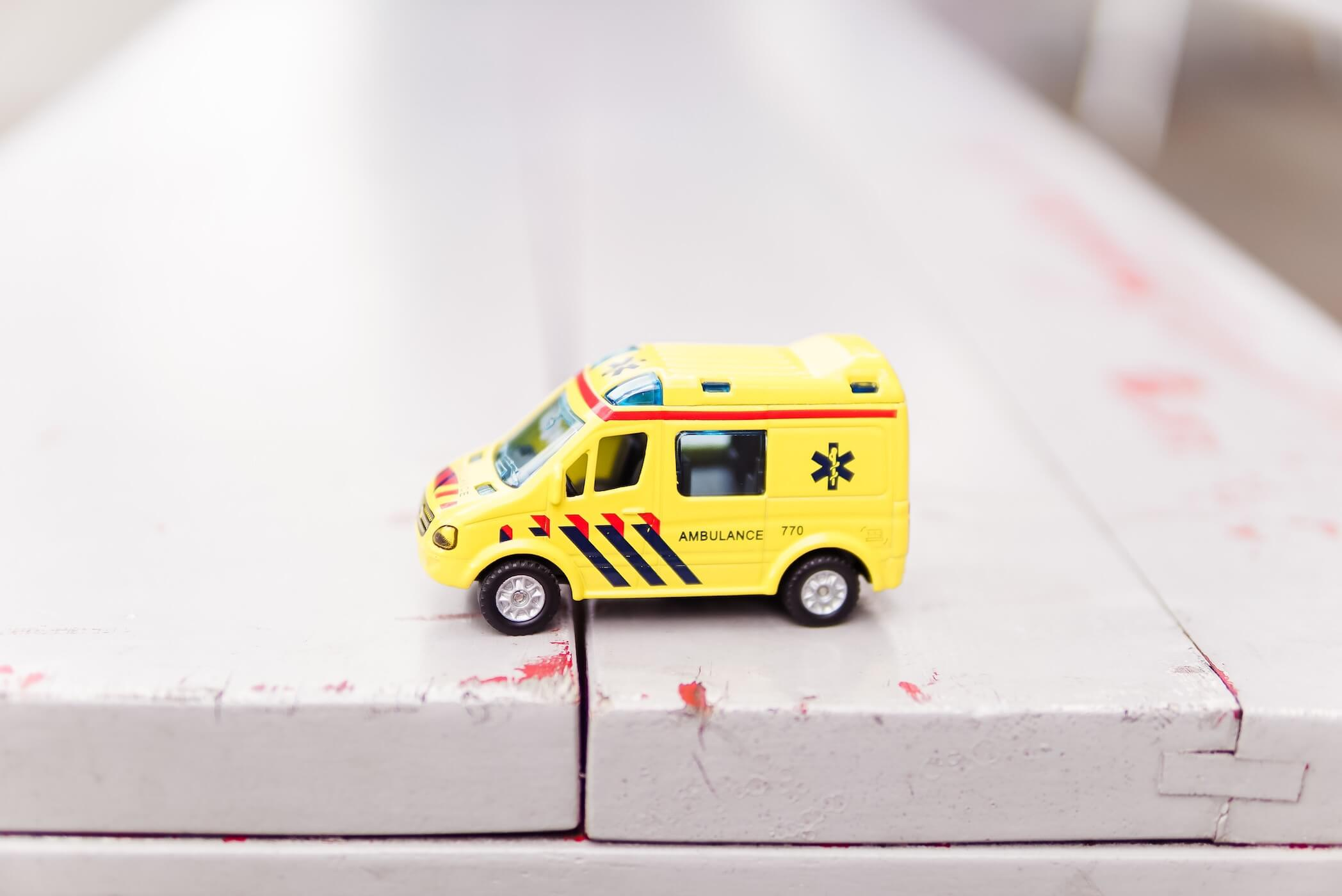 ambulance toy car on table pediatric er nurse