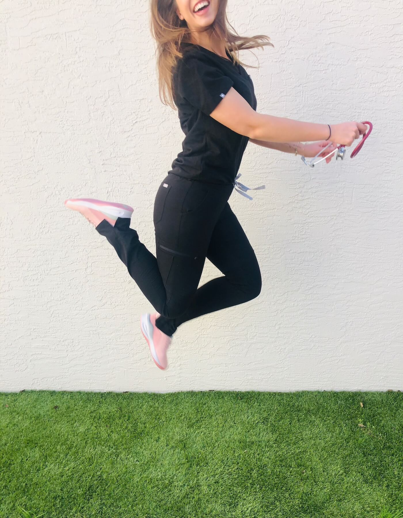 "Casey, BSN, RN wearing Clove nursing shoes in ""Pink Up"""