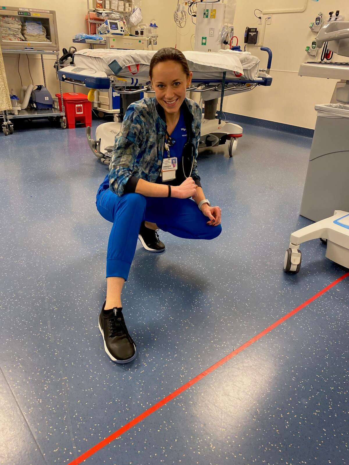 "Liz, BSN, RN wearing Cloves nursing shoes in ""Night Shift"""