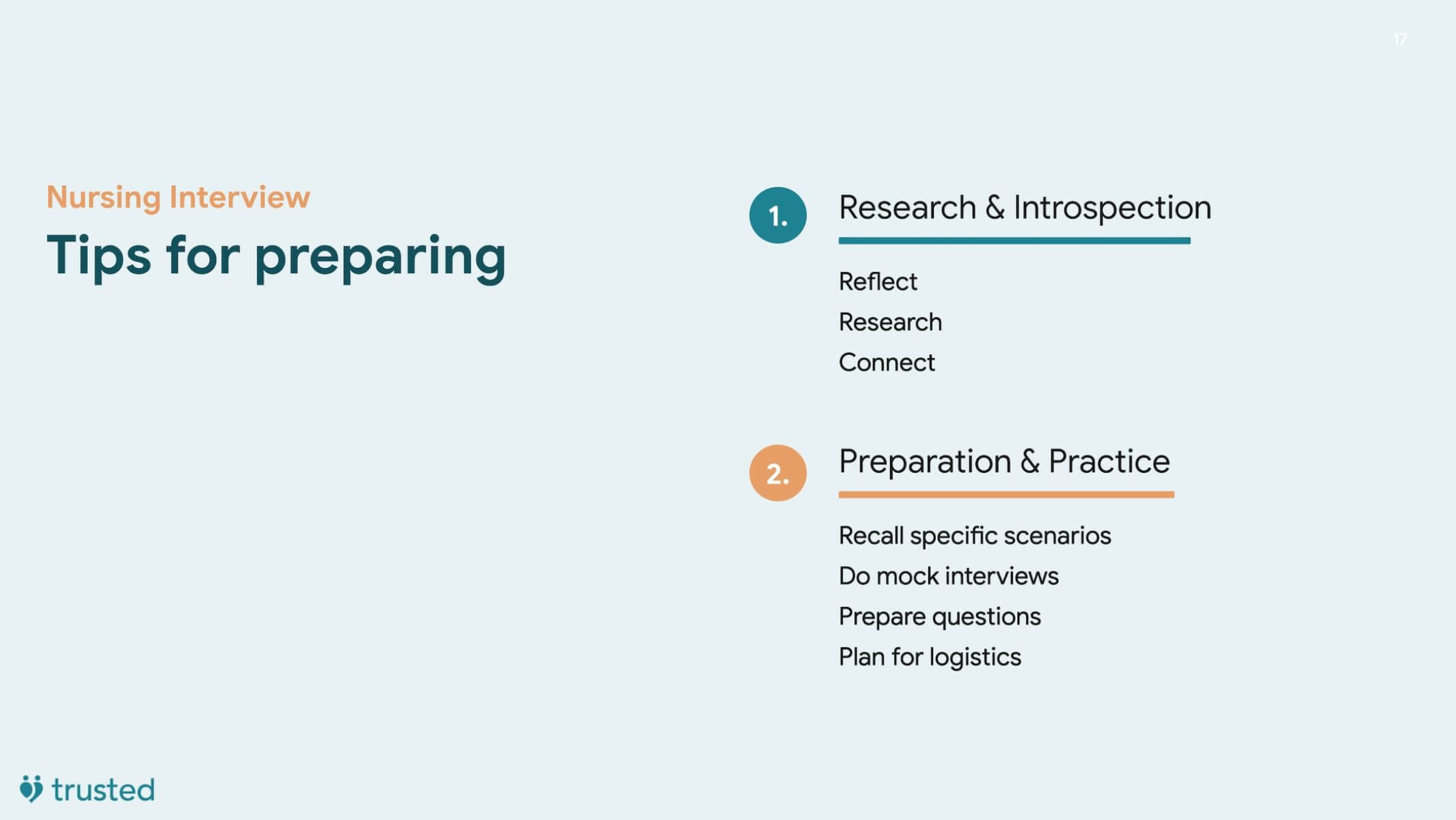 introduction slide to interview preparation highlighting the specific bullets of research and preparation