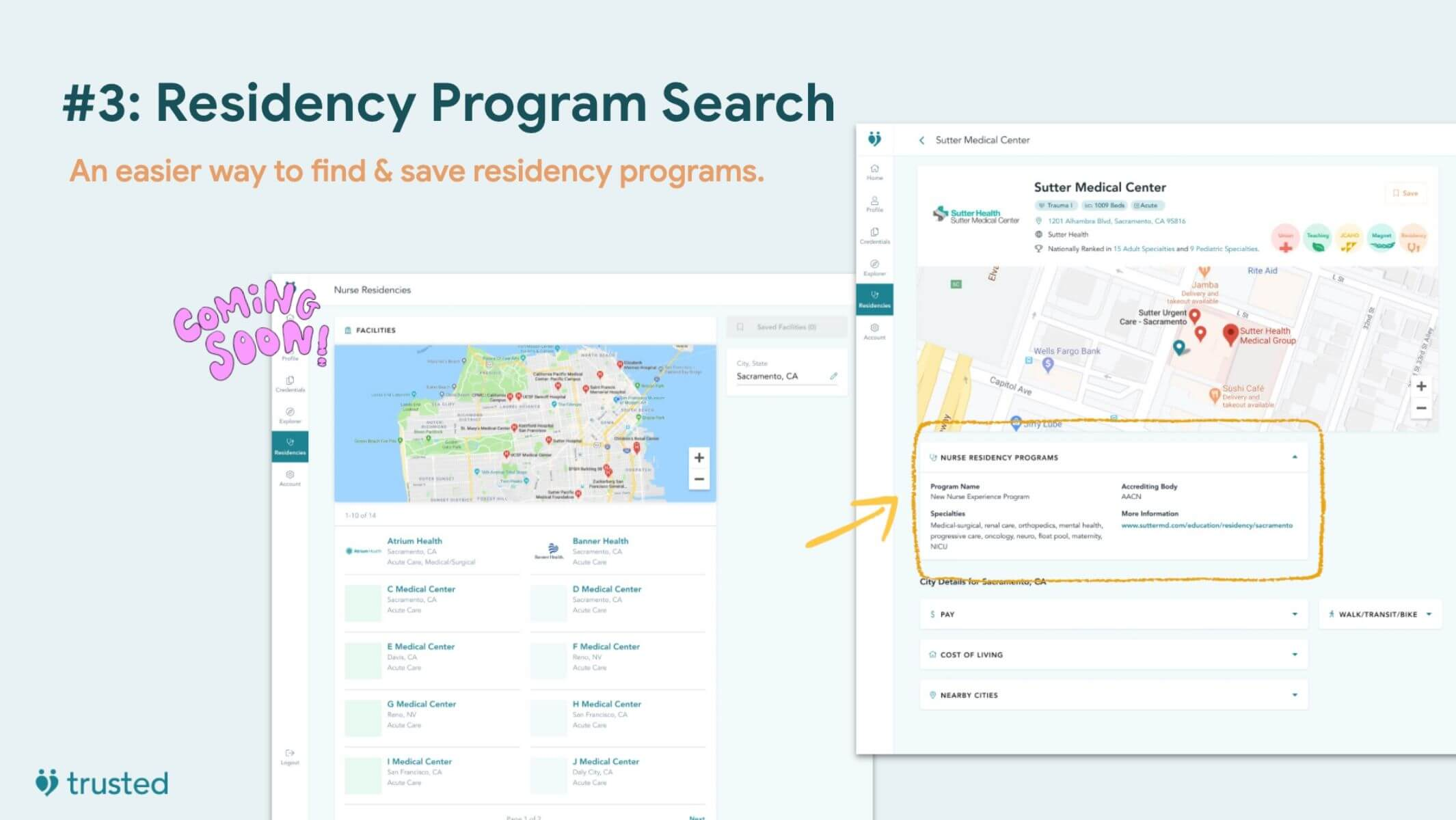 slide previewing the nursing residency program search soon to be added to the trusted health platform for new grads