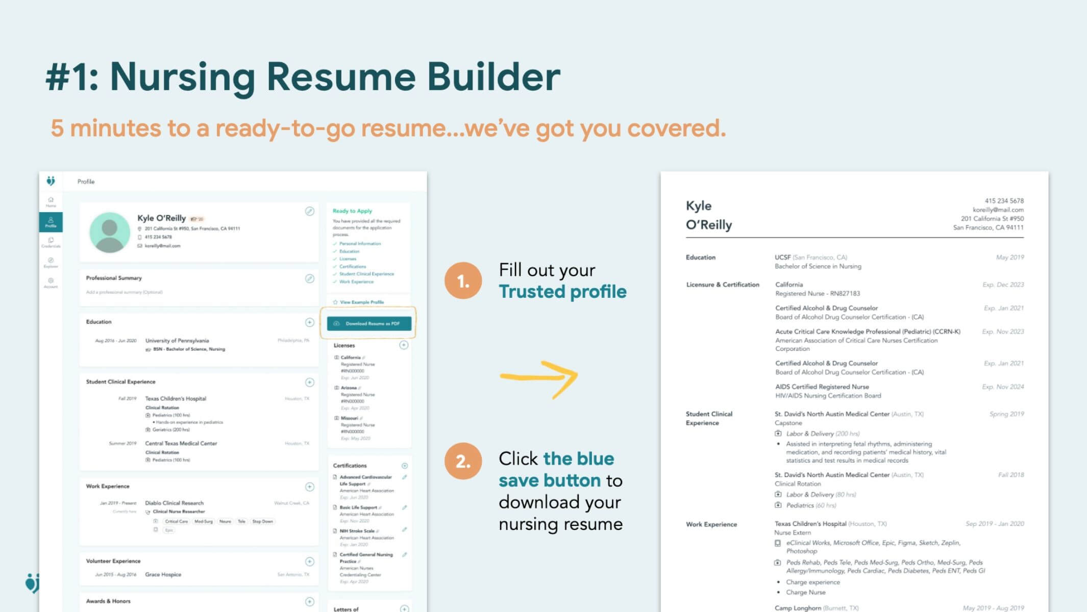 visual example of the nurse resume building on the trusted health platform fill out your profile and download your resume