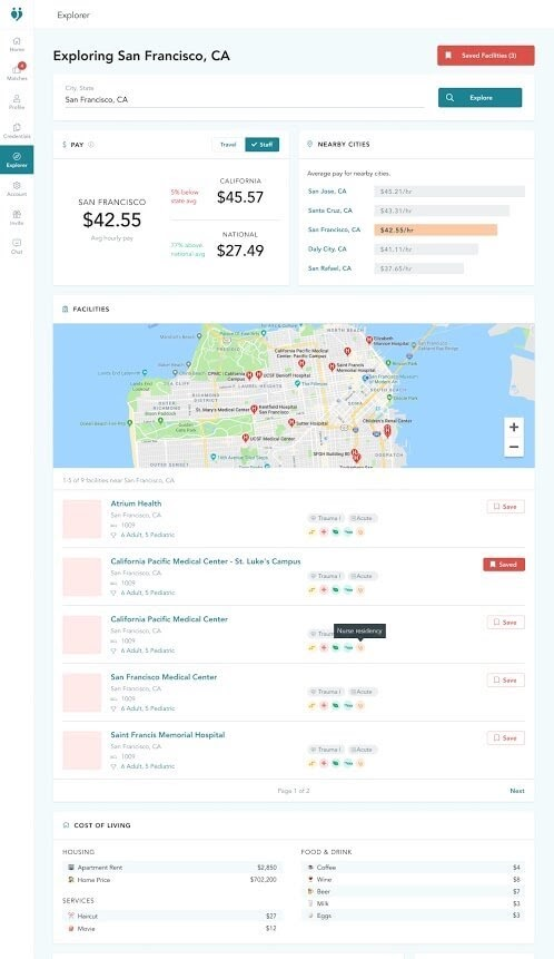 dashboard screenshot of trusted health nurse salary explorer