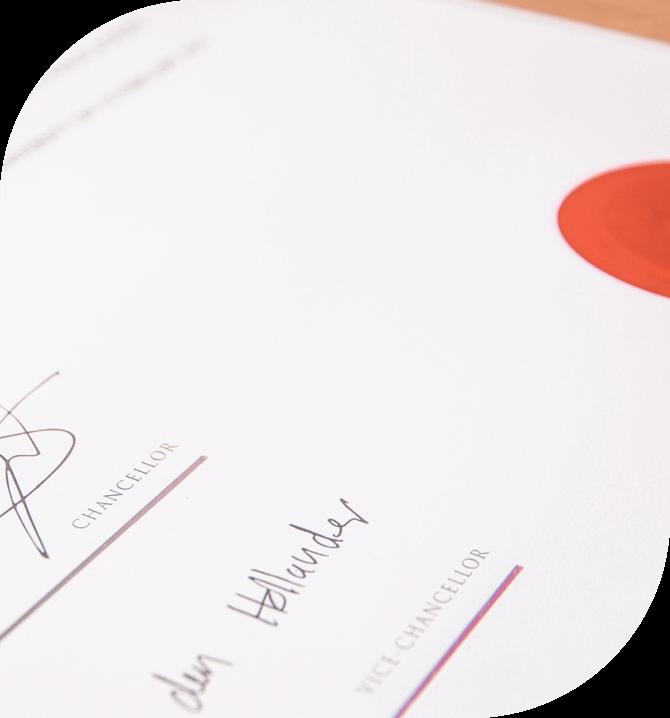 a certificate on a desk