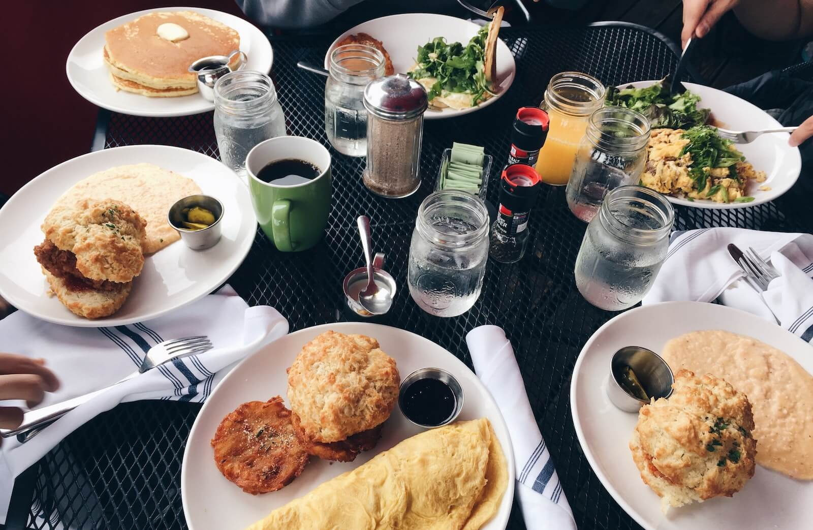 table full of southern breakfast food travel nurse guide to augusta georgia