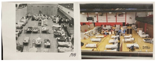 two side-by-side pictures of alternative care sites during disasters disaster nursing