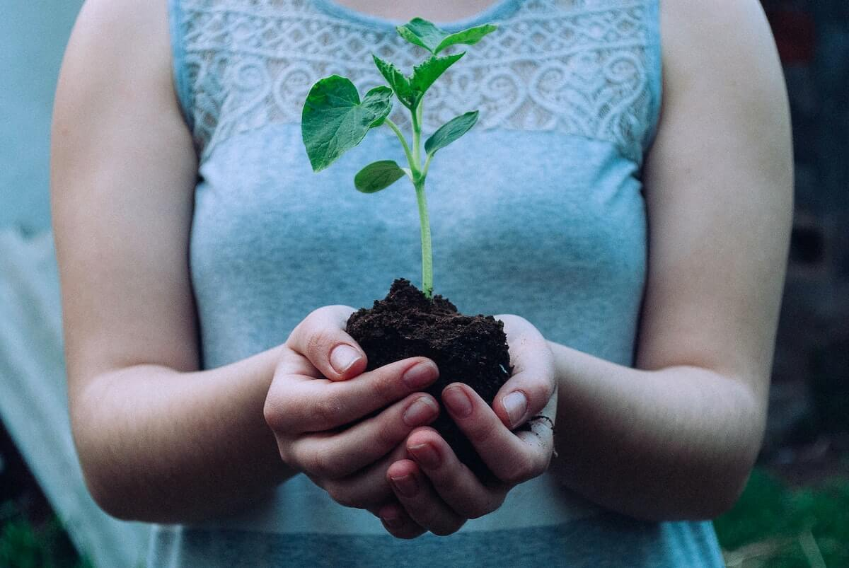 woman holding plant in soil in her hands investing myths investing for nurses