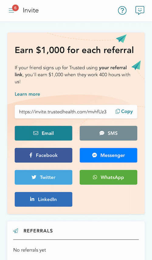 trusted health nurse dashboard refer a friend get paid