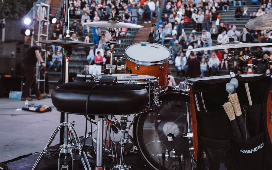 close up of drum set on stage at concert travel nurse guide to augusta georgia