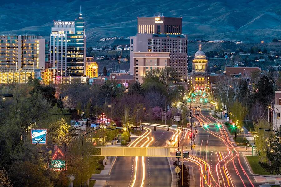 cityscape night of boise idaho travel nursing in boise