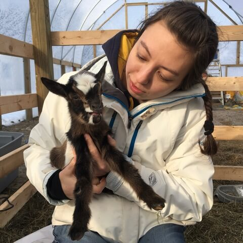 holmes travel nursing first time holding goat