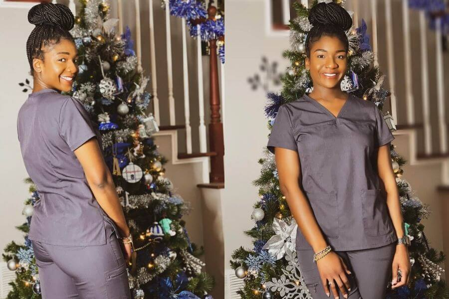 nurse ashley sayles wearing born-o scrubs scrubs review