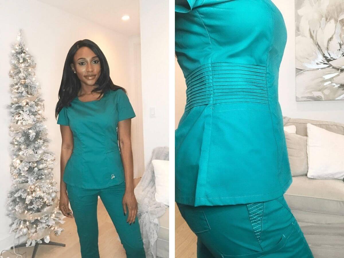two photos of nurse wearing jaanuu scrubs blue nursing scrubs review