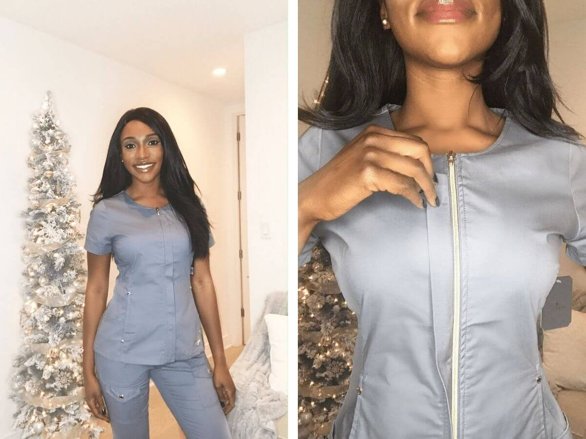 two photos of nursing trying on grey jaanuu scrubs nursing scrubs review