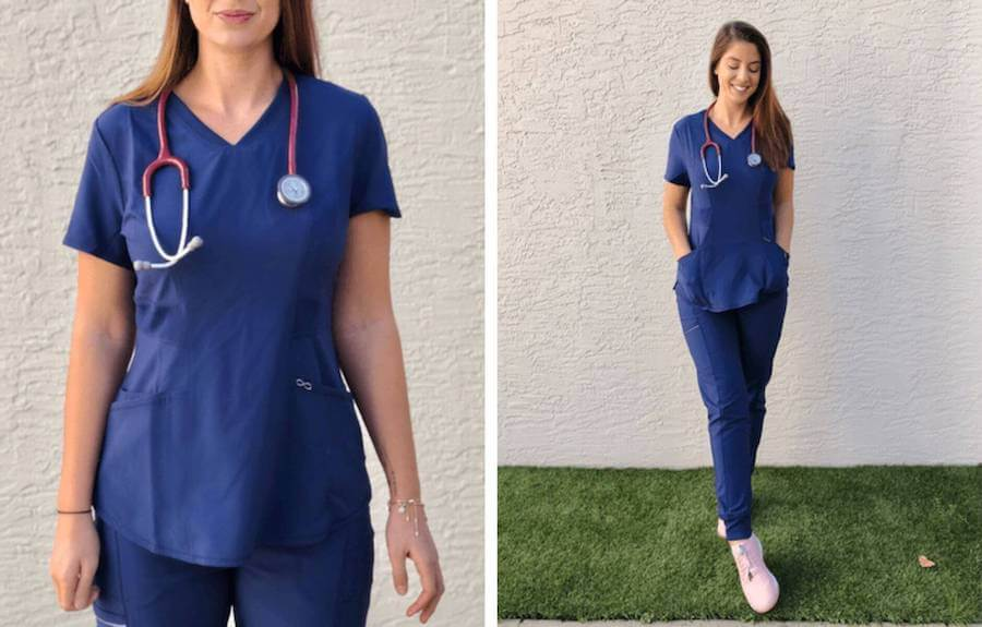 nurse trying on and posing in cherokee infinity scrubs review