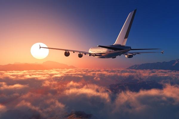 Plane Flying Into Sun
