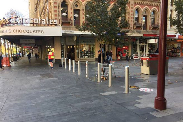 Bollards protecting pedestrians